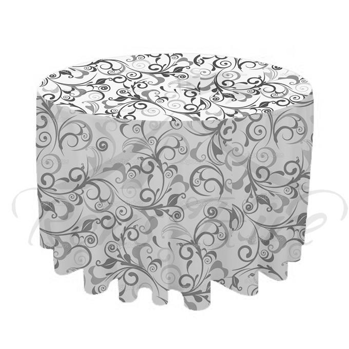 Tablecloth - Black & White Damask 3.3m Round Tablecloth