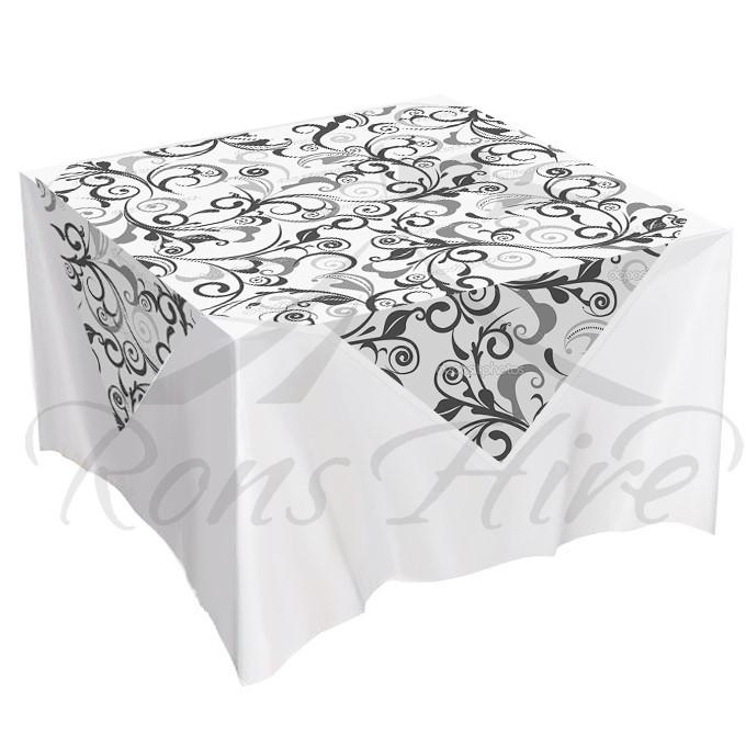 Overlay - Black & White Damask 1.5m x 1.5m Square Overlay