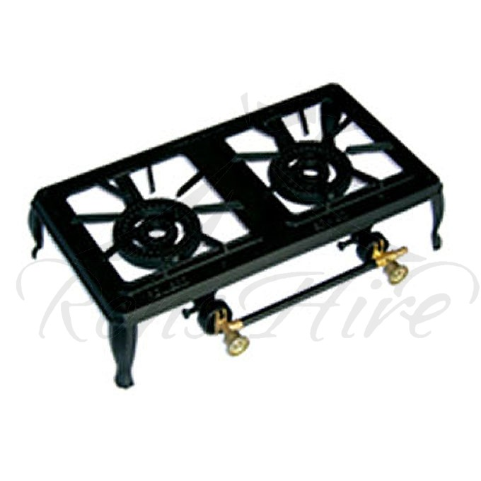 Cooker - Black Cast Iron Gas 3 Ring Rectangular Cooker