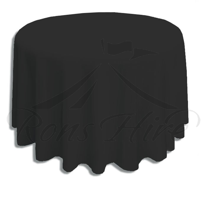 Tablecloth - Black Linen 3.3m Round Tablecloth