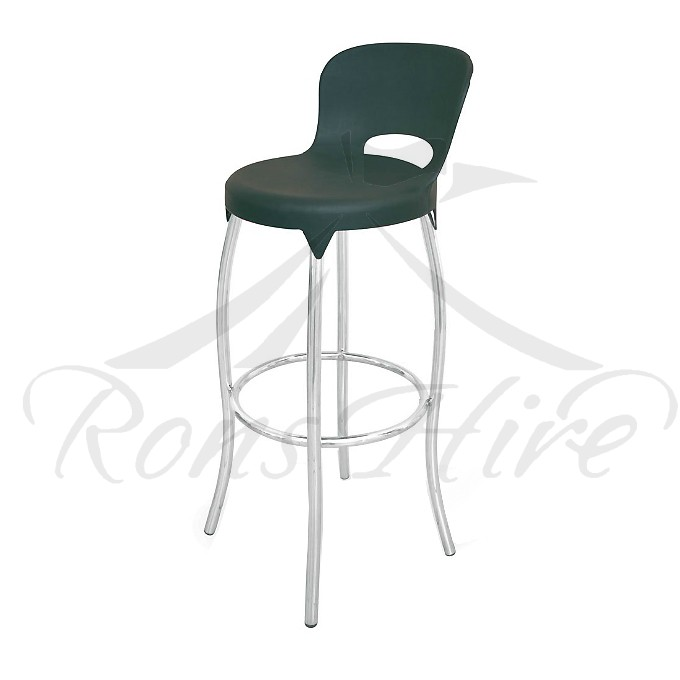 Stool - Black Plastic/Metal Comet Bar Stool