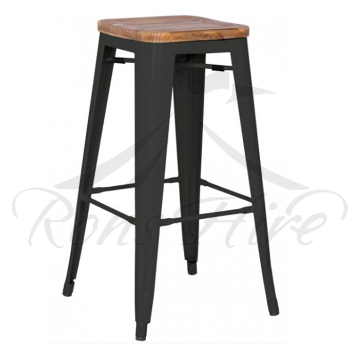 Stool - Black Wood/Metal Cargo Bar Stool