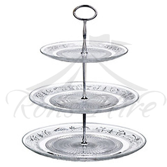 Stand - Clear Glass 3 Tier Medium Round Cup Cake Stand