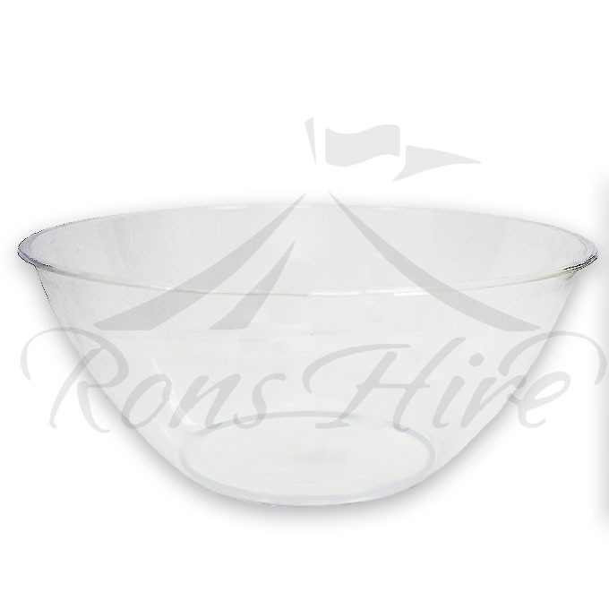 Bowl - Clear Plastic Plain Medium Round Salad Bowl