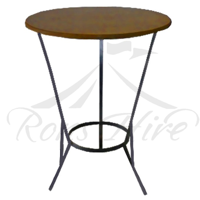 Table - Dark Brown Wooden Cocktail 0.9m Round Table with Steel Legs