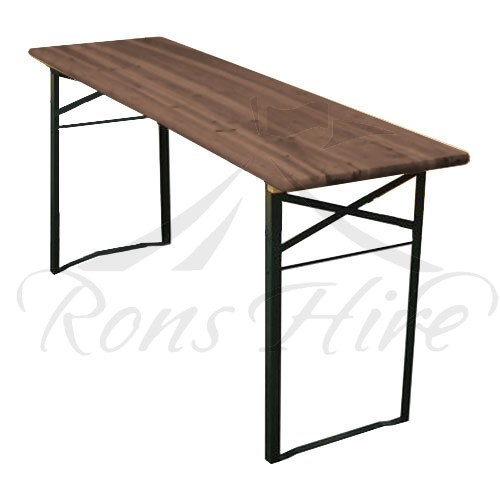 Table - Dark Wooden/Metal Beerfest Folding 2.2 x 0.52m Rectangular Table