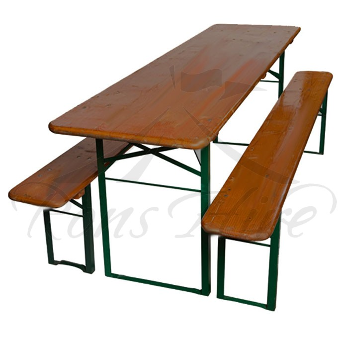 Beerfest Set - Dark Wooden/Metal Beerfest Folding 2.2 x 0.52m Rectangular Table & Benches