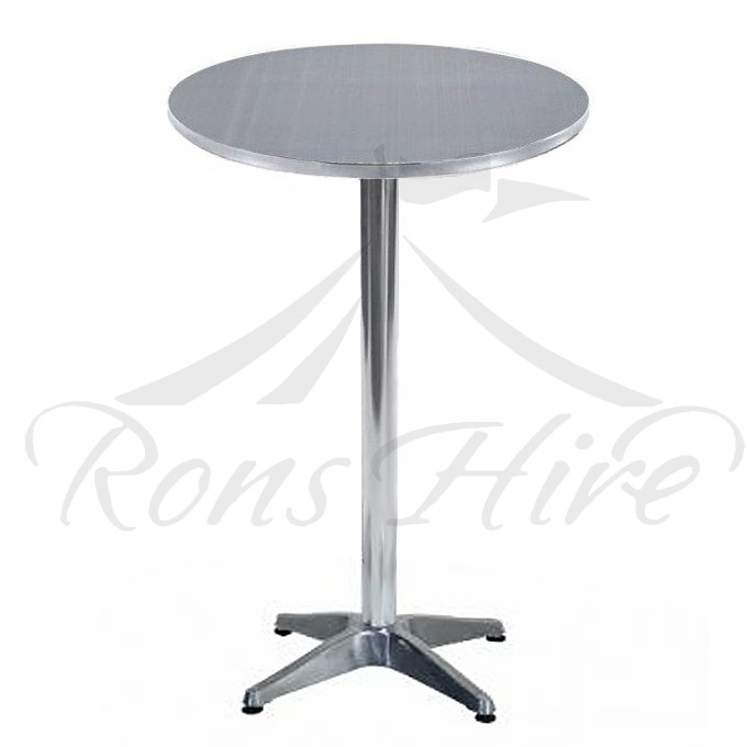 Table - Silver Aluminium Cocktail 0.9m Round Table