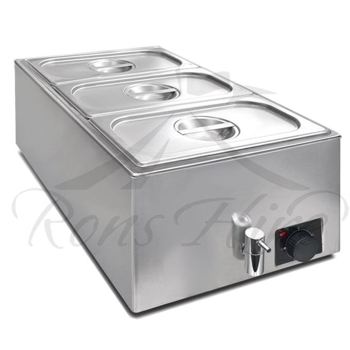 Bainmarie - Stainless Steel Electrical Large 3 Section Bainmarie with Lids and Inserts