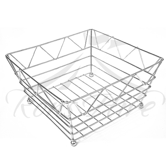 Basket - Stainless Steel Large Square Bread Basket