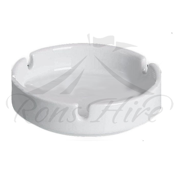 Ashtray - White Ceramic 10cm Round Ashtray