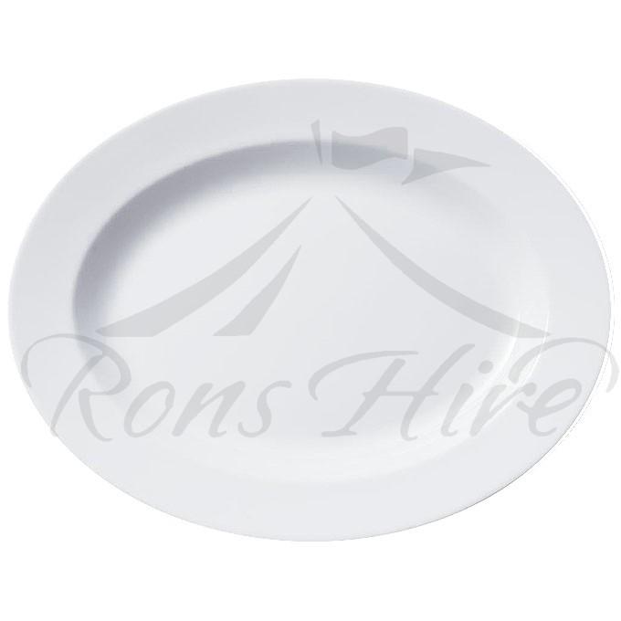 Platter - White Ceramic 38cm x 30cm Oval Platter