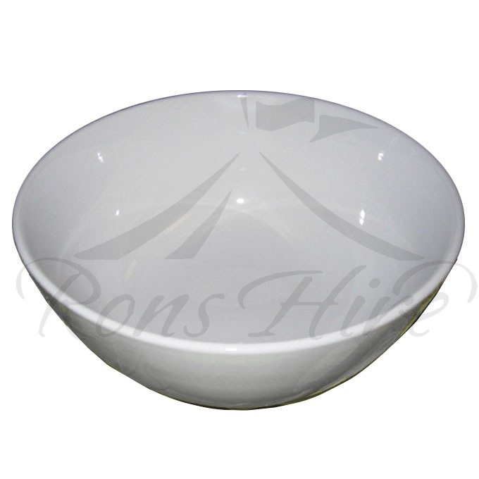 Bowl - White Ceramic Plain Large Round Salad Bowl