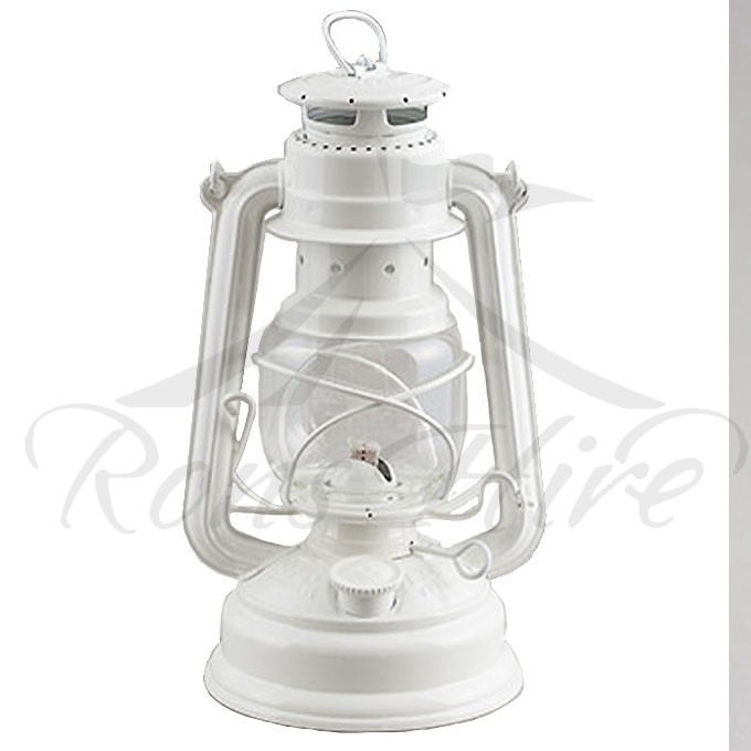 Lantern - White Metal/Glass Hurricane Lantern
