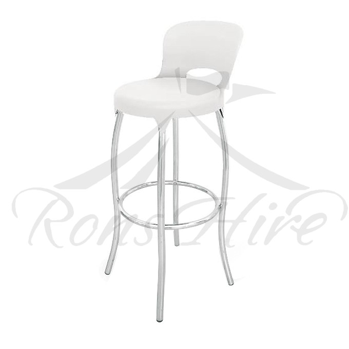Stool - White Plastic/Metal Comet Bar Stool