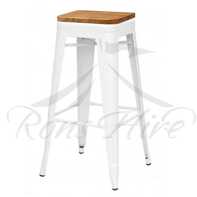 Stool - White Wood/Metal Cargo Bar Stool