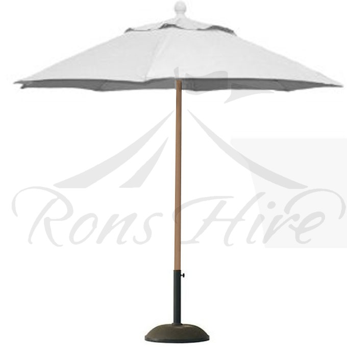 Umbrella - White Wooden 2.5m x 2.5m Hectagonal Umbrella with Base