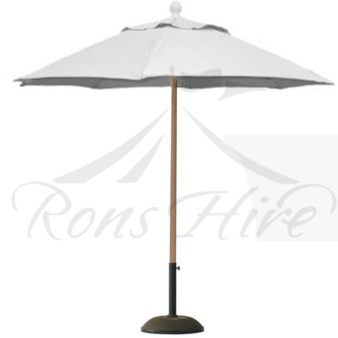 Umbrella - Cream Wooden Caribbean 2.5m x 2.5m Hectagonal Umbrella with Base